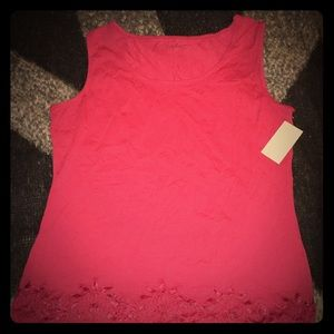 Coldwater Creek Red Tank Top with Lace Trim